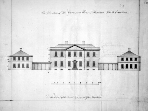 Plans showing the front elevation of Tryon Palace designed by John Hawks in 1767. The original plans are in the British Public Records Office. Courtesy of North Carolina Office of Archives and History, Raleigh.