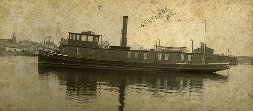 "Tug boat ""Lillie"" in New Bern, NC, early 1900s. From the Dughi Family Photo Collection, PhC.166, North Carolina State Archives, call #:  PhC_166_5."