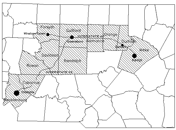 """The Interstate 85 and 40 Corridor through the Piedmont or the ""Urban Piedmont Crescent."" Image courtesy of the NC State University- Extention Foresty- Natural Resources Inventory of North Carolina."