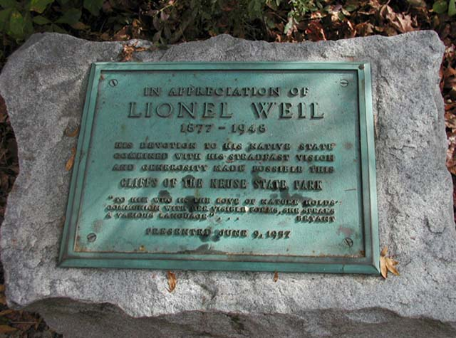 """Plaque at the cliffs honoring Lionel Weil (1877-1946) for his contributions to Cliffs of the Neuse State Park."" Image courtesy of NC ECHO Photo Database."