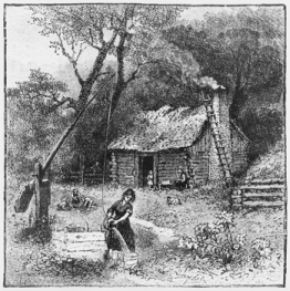 An 1881 drawing (titled Carolina Home) depicting a woman pouring water from a bucket suspended from a well sweep. North Carolina Collection, University of North Carolina at Chapel Hill Library.