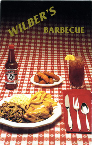 Wilber's Barbecue postcard