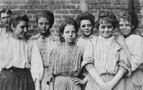 Girls enjoying a break from work, outside a Georgia cotton mill. Photograph by Lewis Hine. Courtesy of the Photography Collections, Albin O. Kuhn Library and Gallery, University of Maryland at Baltimore County.