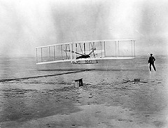 The Wright Brothers' First Flight. From the General Negative Collection, North Carolina State Archives, call #:  N.63.9.27_WRIGHT_BROS_1ST_FLIG. Raleigh, NC.