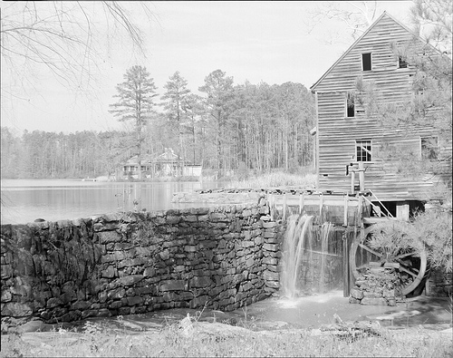 Piedmont mills harnessed water power; Yates Mill and pond, Raleigh, NC. Image courtesy of the State Archives of NC.